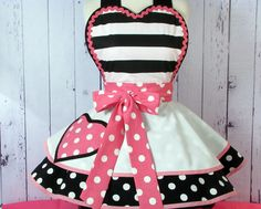 Cute Little Polka Dot Heart and Stripes Apron by Dots by dotsdiner, $66.00
