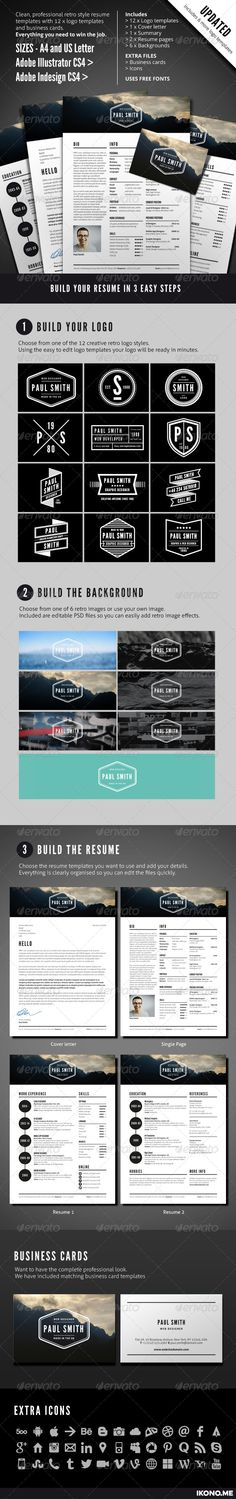 Download Now : Professional Retro Style Resume. Sharp and clean typography with a bold graphical style to get you noticed in the right way. http://graphicriver.net/item/job-resume/4563800?ref=mahmoudrafik