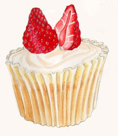 Cupcakes by Laura Loveday, via Behance Cupcake Painting, Cupcake Drawing, Cupcake Art, Dessert Illustration, Food Sketch, Watercolor Food, Food Drawing, Kitchen Art, Food Illustrations