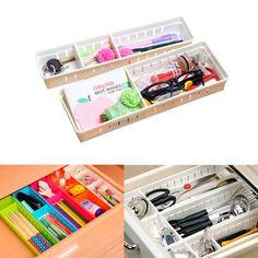 Drawer Organizer Home Kitchen Board Divider Makeup Storage Box Adjustable New Household #Affiliate