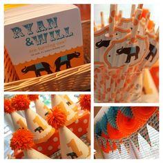 Aqua and Orange Circus Theme