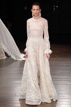 A model walks the runway at the Naeem Khan Spring/Summer 2017 Bridal Collection on April 2016 in New York City. Spring 2017 Wedding Dresses, New Wedding Dresses, Spring Dresses, Bridal Dresses, Naeem Khan Wedding Dresses, Flapper Dresses, Gown Wedding, Lace Wedding, Naeem Khan Bridal