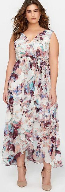 Sleeveless Ruffle Front Maxi Dress, Plus Size floral print maxi dress, Plus Size Maxi dress with a beautiful floral print - This maxi dress fits women fitting plus sizes 12 - 24