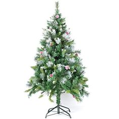 P&G Market Xmas Finest 4' Ft Artificial Christmas Pine Tree With Solid Metal Legs And Bonus Pinecone