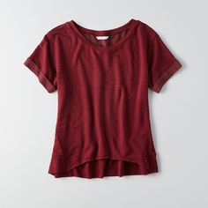 AEO Fleece Hi-Lo T-Shirt ($30) ❤ liked on Polyvore featuring tops, maroon, maroon top, burgundy top, red top, fleece tops and american eagle outfitters