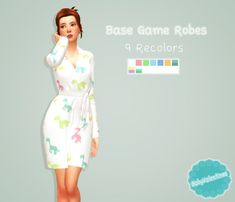 "babyvalentinee: "" Base Game Robe Recolors - BabyValentinee ♥ I redid the base game robe for my personal game and decided to share it. Its a new mesh but its only got some tiny changes made to it. 6 bright colors - 3 cute patterns my downloads will..."