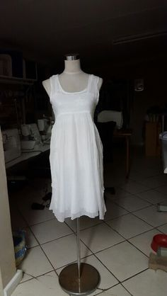 Cheese cloth and cotton over dress in white.  Summer 2015 Aknitak Creations