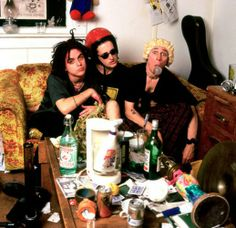 Green Day poses in a trashed living room in San Francisco in April 1993.