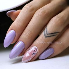 Start Afresh With These New 2019 Spring Nail Colors Silver Nail Designs, Best Nail Art Designs, Nail Designs Spring, Violet Nails, Purple Nails, Oval Nails, Silver Nails, Spring Nail Colors, Spring Nails