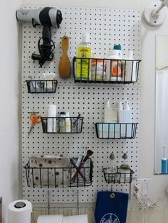Pegboard storage bins ideas cabinet garage tool peg board b products small wall bin craft hobby . tricks for using pegboards storage Painted Pegboard, Pegboard Garage, Pegboard Organization, Kitchen Pegboard, Diy Garage, Bathroom Organization, Large Pegboard, Organized Bathroom, Kitchen Shelves