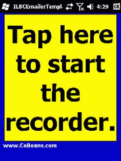 ILBCEmailerTemplate©  This program is a compact ILBC (Internet Low Bitrate Codec) voice recorder that sends the voice message via email template. Tap the 'Start Record' button to start the recorder and tap the button to stop the recorder.   http://www.cebeans.com/ilbcemailertemplatep.htm