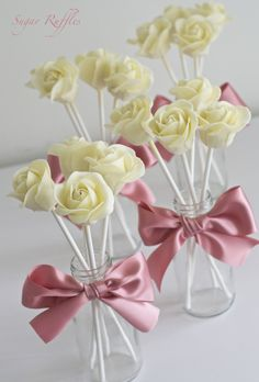 white chocolate rose cake pops | Charlotte | Flickr