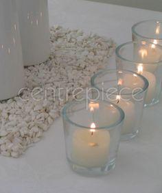 Clear Rnd Votive & Candle (NF) Votive Candles, Centerpieces, Candle Holders, Sparkle, Ribbon, Decorations, Lace, Tape, Band