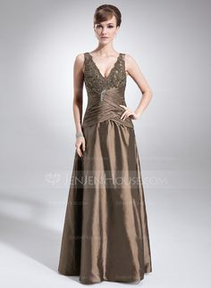 Mother+of+the+Bride+Dresses+-+$128.99+-+A-Line/Princess+V-neck+Floor-Length+Taffeta+Lace+Mother+of+the+Bride+Dress+With+Ruffle+Beading+(008005615)+http://jenjenhouse.com/A-Line-Princess-V-Neck-Floor-Length-Taffeta-Lace-Mother-Of-The-Bride-Dress-With-Ruffle-Beading-008005615-g5615