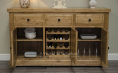 Deluxe Rustic Oak: Deluxe Rustic Oak Large Sideboard with Wine Rack - A World of Furniture