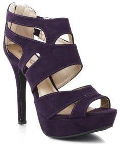 Qupid Gaze-239x Cutout Strappy Suede Heels  #PURPLE - $23.50 - $40.00