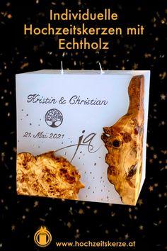 Ich fertige einzigartigeHochzeitskerzen nach individuellen Wünschen an. Ein Unikat für jedes Brautpaar. 100%ige Handarbeit aus Oberösterreich. Sie können nicht nur die Verzierung, sondern auch die Form der Kerze selbst bestimmen, da wir auch die Rohlinge nach Kundenwunsch selbst herstellen. Kerze mit Holz, Mantelkerze, Kerze mit Mineralien, Achat, Meteorit, Hochzeit selbstgemacht Standesamt Kirche Hochzeitsbrauch Geschenk Dekoration Kerze deko Trauung Trauspruch Kerzenshop Form, Dekoration, Candle Decorations, Newlyweds, Minerals