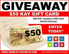 Enter to win a $50 Kay Jewelers Gift Card.  The giveaway ends June 12, 2016 and is open to US residents who are 18 and older.