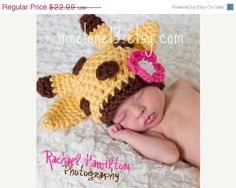 ON SALE Giraffe handmade crochet HAT  Newborn to 5 by NattyHatty, $19.54