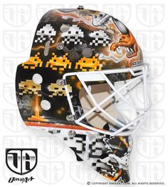 John Gibson's New Space Invaders Mask Hockey Gear, Ice Hockey, John Gibson, Goalie Mask, Space Invaders, News Space, Pac Man, Mask Design, Arcade Games
