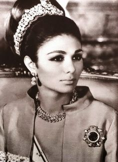 Farah Diba, empress of Iran 1959-1979, in her wedding dress and diadem, 1959. Description from pinterest.com. I searched for this on bing.com/images