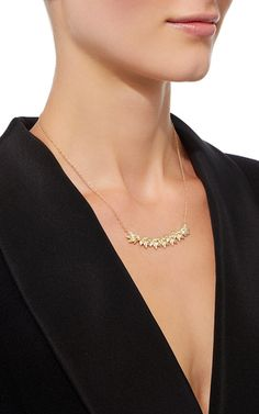 Yellow Gold Lotus Necklace With White Diamonds by JAMIE WOLF for Preorder on…