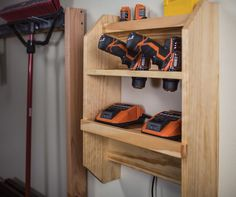 Cordless Tool Charging Station: Cordless tools are great, but finding a place to keep their chargers and batteries can be a challenge. This wall-mounted station offers space for several chargers, plus storage for three drills. It's a great way to keep your cordless tools organized and ready to go. Find the FREE project plan, along with many others, at buildsomething.com