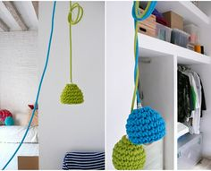 Pendant lamp with crocheted lampshade and textile cable - green. via Etsy. Crochet Lamp, Love Crochet, Beautiful Crochet, Diy Crochet, Crochet Toys, Everything Is Illuminated, Cotton Cord, Crochet Home Decor, Home And Deco