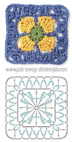 Transcendent Crochet a Solid Granny Square Ideas. Inconceivable Crochet a Solid Granny Square Ideas. Beau Crochet, Crochet Diy, Crochet Motifs, Crochet Blocks, Crochet Diagram, Crochet Chart, Crochet Squares, Love Crochet, Crochet Flowers
