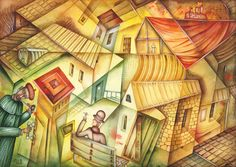 Smoking Men: Paintings Cubism Paper Watercolor  Architecture   Eugene Ivanov