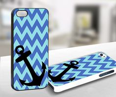 For iPhone 4/4s - Chevron blue Anchor