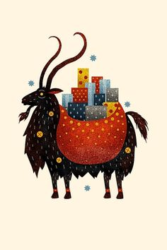 Yule Goat by Scott Benson. The Yule Goat is a Scandinavian tradition that predates the arrival of Christianity in Northern Europe. The goat was a symbol of the Norse god Thor, whose flying chariot was Noel Christmas, Father Christmas, Winter Christmas, Christmas Cards, Primitive Christmas, Retro Christmas, Country Christmas, Christmas Decor, Holiday Decor