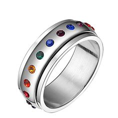 PAMTIER 8MM Unisex Stainless Steel Gays and LGBT Pride Arrow Shaped Rainbow Ring