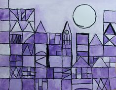 Paul Klee kids art.  Inspired by Paul Klee's 'Castle and Sun'.  Divide a page into a grid of squares.  Follow ideas in the original art work for how to divide up the squares.  Erase lines where the sky and moon are.  Outline in oil pastel, colour with watercolour (this was done by a 10yr old)  4 Monkeys Studio