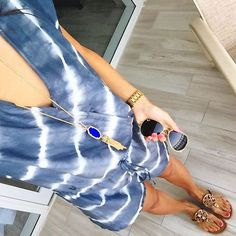 IG @mrscasual <click through to shop this look> Tie dye velvet by graham and spencer romper. Tory burch miller sandals. Rayne tassel necklace. Ray ban aviators.