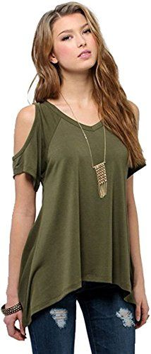 Streetwear Style Stretchy Cold Off The Shoulder VNeck TShirt Blouse Top XXL  Army Green   . Style De ChemiseChemise ... 3a59f82dda6