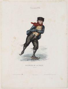 Friese schaatsrijder Patineur de la Frise (Hollande) ca 1870 kunstenaar: Verveer, Elchanon Leonardus graveur (prent): Guerdet, L. #Friesland