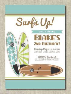 Surfer Boy Birthday Invitation