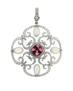Olympia Swirl Pendant in 18ct White Gold with diamonds, morganite and moonstone