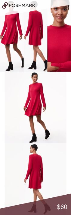 Loft - Mock Neck Swing Sweater Dress (Pink) Long sleeve sweater dress with vented cuffs. Worn just once. Just a little big on me but so comfy!  40% Polyester / 35% Viscose / 25% Wool LOFT Dresses Long Sleeve