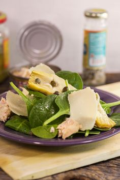 Mix things up with a winter salad: Spinach and marinated artichoke salad with capers and fresh Parmesan.