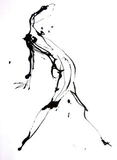 Original Abstract Human Figure Ink Drawing 85 by JBsFineArtGallery