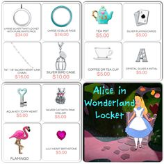Origami Owl Alice in Wonderland Locket www.owlbeblessed.origamiowl.com like me on facebook https://www.facebook.com/pages/Origami-Owl-Tanya-Stalnaker-Independent-Designer/177901115732171