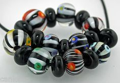 Black and white lampwork beads...