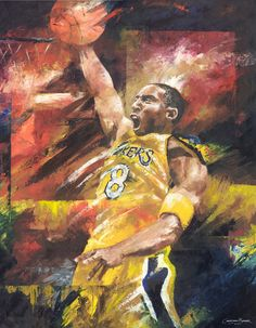 Kobe Bryant of the LA Lakers dunk shot - Oil on canvas