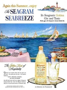 1953 Seagram's Gin Liquor & Birds Eye Orange Juice Advertisements Ad Wall Art Home Decor