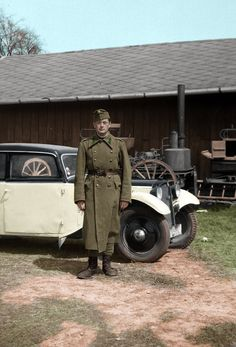 The car is an DKW Combi if you wan't to know Forrás:Fortepan.hu Soldier with a car Ww2 Pictures, Military Pictures, Austro Hungarian, Defence Force, European History, Historical Photos, World War Ii, Wwii, Army