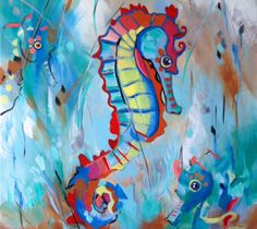 Sea Horse Art.  Abstract Acrylic Pop Art on canvas. Original 12x12.  See www.karrenmgarces.com or https://www.etsy.com/listing/184592243/sea-horse-art-original-acrylic-painting?
