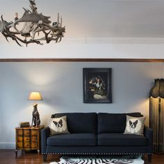 The French Bedroom Company give their top tips on incorporating one of their real antler chandeliers into your home, modern or traditional. Antler Lights, Antler Chandelier, Chandeliers, Gray Interior, Luxury Interior, Interior Design, Tiny Living Rooms, Living Room Decor, Picture Rail Bedroom