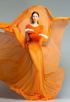 Beautiful Woman In Long Orange Dress Posing Dramatic Stock Image - Image of body, model: 29594779 Fashion Art, Editorial Fashion, High Fashion, Fashion Design, Orange Fashion, Colorful Fashion, Debut Photoshoot, Flowing Dresses, Fashion Photography Inspiration